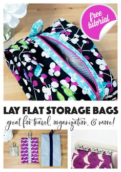diy bag Sew Lay Flat Shoe Storage Bags - great for travel, organization, and more! Bag Pattern Free, Bag Patterns To Sew, Sewing Patterns Free, Free Sewing, Sewing Pattern Storage, Wallet Pattern, Tote Pattern, Sewing Blogs, Sewing Tutorials