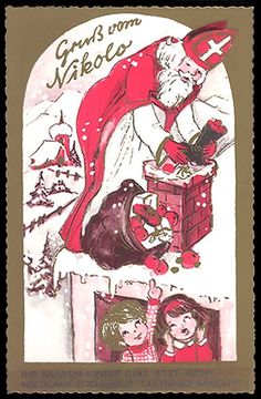 Ansichtskarte : St. Nicolo wirft Geschenke in den Schornstein.