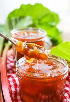 Peach Jelly, Peach Jam, Sweet Peach, Rhubarb Jam Recipes, Fruit Recipes, Top Recipes, Party Recipes, Delicious Recipes, Appetizer Recipes