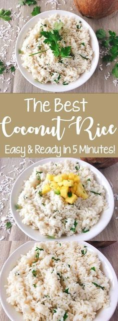 Easy Five Minute Coconut Rice recipe is a delicious, simple, time-saving way to prepare a flavorful rice side dish and is ready in only five minutes! Coconut rice recipe, easy coconut rice, easy rice, coconut rice, instant rice