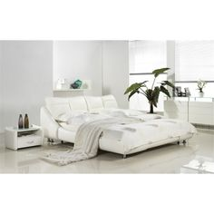 d1dbb01a82d98 Mirage Collection White Leather Headboard With Eco Leather Match Rails  Queen Bed By Casabianca Home Cb Qw