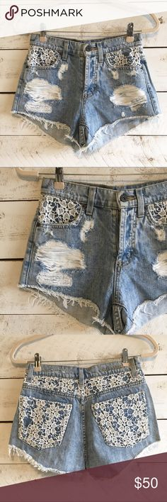7d0224cbe2 Crochet denim shorts High waisted light wash denim shorts with white  crochet detail and button fly. One small flaw in crochet shown in last  picture Carmar ...