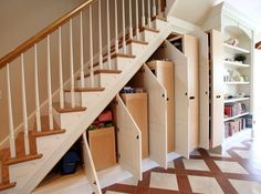Interior Winning Large Under Stairs Storage Closet White Oak Pull Out Cabinet In 5 Different Size White Doors Cabinets Built Under The Stairs White And Brown Ceramic Floor Tiles Under Stairs Closet Storage Solutions