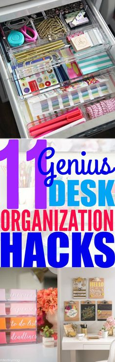 Improve your productivity and stay focused on your work by using these 11 desk organization hacks to organize your desk! Get rid of clutter and make your desk stand out! Organisation Hacks, Teacher Desk Organization, Organizing Hacks, Clutter Organization, Organizing Your Home, Organising, Desk Hacks, Stationary Organization, Decluttering Ideas