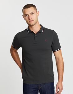 Twin Tipped Fred Perry Polo Shirt Fred Perry Polo Shirts, Twin Tips, Signature Design, Workwear, Twins, Short Sleeves, Mens Tops, Clothes, Fashion