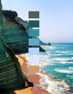 Inspiring Graphic Design I found this artwork / graphic design very interesting and inspiring. I like the clever colour palette mixed with the landscape photo. I like the photography style and mixed media concept. Colour Pallette, Color Palate, Colour Schemes, Color Patterns, Ocean Color Palette, Beach Color Schemes, Beach Color Palettes, Magazin Design, Design Graphique