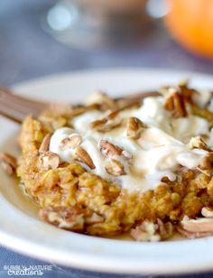 Baked Pumpkin Pie Oatmeal! Perfect Fall Weather food... tastes like pumpkin pie! Low fat, high protien THM E