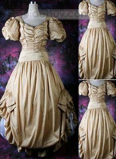 販売ため伝統的なシャンパーニュゴシックビクトリア朝ドレス