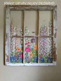 Kitchen window Decoration Shabby, Shabby Chic Decor, Window Pane Art, Painted Window Panes, Old Windows Painted, Window Paint, Window Frames, Painting On Glass Windows, Old Window Art