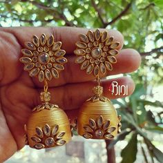 Party Wear Delicious Indian Handmade Silk Thread Jewellery,traditional Jhumkas Jhumki Modern Design