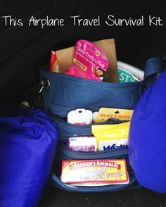 Airplane travel survival kits for adults, babies, toddlers, kids