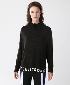 #feelstrong text collar sweatshirt - New In - SPORT | Autumn Winter 2016 - Oysho United Kingdom