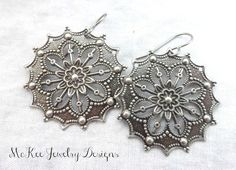 Silver earrings, every day filigree boho jewelry McKee Jewelry Designs