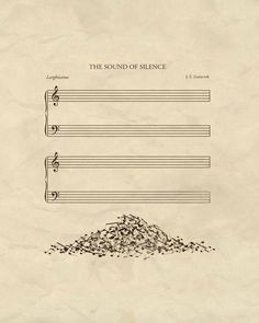 A poster of 'The Sound Of Silence' is visualised meaning of words to use metaphor. A word 'sound' visualises to notes and 'silence' is empty manuscript. Pile of notes serves interesting and a sense of humour. And it uses space and symmetrical layout. Humor Musical, Music Is Life, My Music, Piano Music, Poesia Visual, Music Jokes, Funny Music, Funny Songs, Funny Quotes