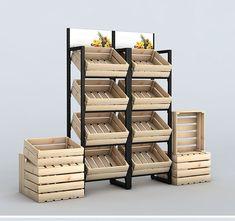 Vegetable Rack, Fruit And Vegetable Storage, Fruit Storage, Supermarket Shelves, Supermarket Design, Coffee Shop Interior Design, Cafe Interior, Fruit Shop, Fruit Stands