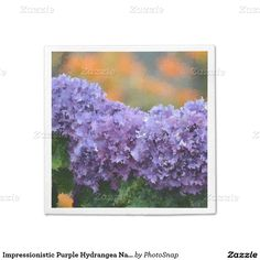 Impressionistic Purple Hydrangea Napkin Standard Cocktail Napkin