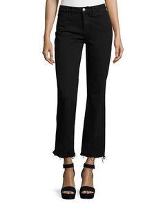 Lou Flare-Leg Cropped Jeans, Black