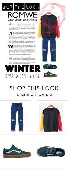 """""""Romwe Street Style"""" by iulia-ruja ❤ liked on Polyvore featuring Monki and Vans"""