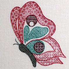'Butterfly' Blackwork in Colour Embroidery Kit