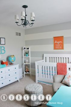 Looking for some nursery inspiration? An aqua, grey, and orange nursery with lots of DIY ideas!