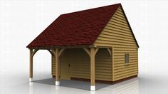 Oak framed garden store with overhang at the front and accessed by a single door under the roof overhang. All structures made entirely of green oak. Single Garage Door, Single Doors, Garage Doors, Roof Overhang, English Heritage, Gazebo, Buildings, Shed, Outdoor Structures