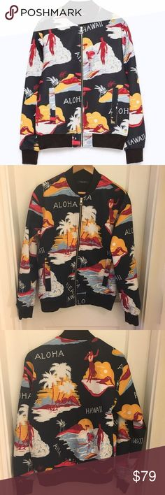 Zara Man Hawaiian Print Bomber Jacket Zara Man Hawaiian Print bomber jacket. Lightweight scuba style material that is perfect for spring / summer. In excellent condition. 100% polyester. Zara Jackets & Coats Bomber & Varsity