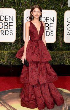 Golden Globes 2016 Red Carpet Fashion Zendaya in a tiered Marchesa Moda Zendaya, Beautiful Dresses, Nice Dresses, Club Dresses, Oscar Dresses, Dresses Dresses, Dresses Online, Formal Dresses, Fashion Editorials