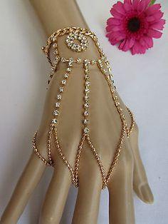 Gold Bollywood Inspired Hand Chain Hand Bracelet Slave bracelet