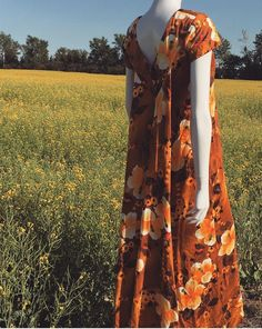 Vintage Floral 1970s 70s Handmade Dress with Train by MichellePiccione on Etsy