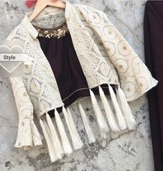 50 Women Jackets To Look Cool - Designer Dresses Couture Stylish Dress Designs, Fancy Blouse Designs, Designs For Dresses, Indian Designer Outfits, Indian Outfits, Indian Designers, Fashion Designers, Designer Dresses, Fashion Wear