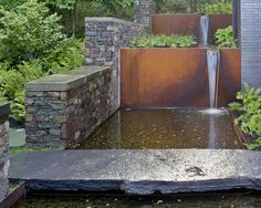Water feature aligning with foot path fence down to next level after the fire pit terrace . Would be nice to have a water fall Desert Garden Succulents & Cacti Wagner Hodgson Landscape Architecture Burlington, VT Modern Landscape Design, Garden Landscape Design, Modern Landscaping, Contemporary Landscape, Pool Landscaping, Landscape Architecture, Landscaping Design, Minimalist Landscape, Creative Landscape