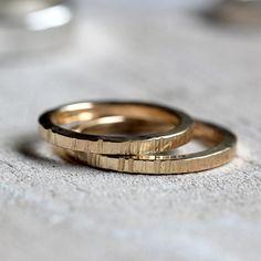 Tree bark wedding ring set - solid 14k gold
