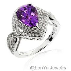 925 Sterling Silver Ring with Pear Shaped Amethyst and CZ