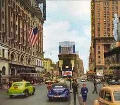 Times Square - 1951 America Album, View Source, Ghost Towns, Vintage Photography, Ny Times, Old Photos, New York City, Times Square, Street View