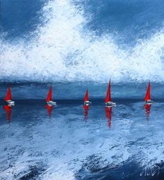 The Red Sails. Oil on canvas, palette knife,  120 x 110 cm, 2012 (original painting for sale)