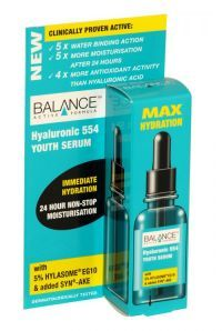 Balance Hyaluronic 554 Youth Serum Max Hydration 30ml Balance Hyaluronic 554 Youth Serum immediate hydration is clinically proven to give 24 hour non-stop moisturisation for the face, eye and neck area's. Suitable for all skin types and particularly effective on dry skin prone to wrinkles and is Non greasy.
