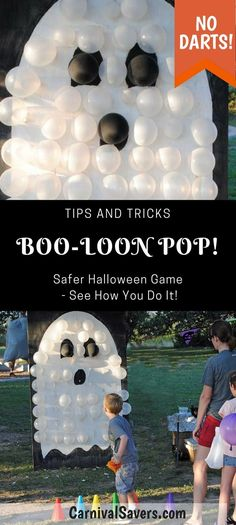 DIY Halloween Game - No DARTS Needed - BOO-Loon Pop! Check out the Video too! See how to make this safer balloon pop Halloween game! Great for kids and family Halloween parties! games at work BOO-Loon Pop - Unique Halloween Game Idea - NO Darts Needed! Halloween Carnival Games, Soirée Halloween, Halloween Karneval, Halloween Balloons, Adornos Halloween, Halloween Games For Kids, Halloween Designs, Halloween Festival, Halloween Birthday