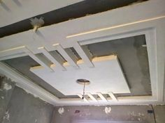 Drop ceiling tiles supported by molding. Looks like coffered ceiling! Basement remodel Basement ceiling ideas Finished basement ideas How to finish a basement Basement bar ideas Unfinished basement ideas Low Ceiling Basement, False Ceiling Living Room, Bedroom False Ceiling Design, Kitchen Ceiling Lights, Gypsum Ceiling Design, Pop Ceiling Design, Drop Ceiling Tiles, Roof Ceiling, Diy Interior
