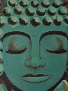meditating teal buddha painting