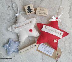 Stelline pannolenci primo natale #itommasini4ucreazioni #pannolenci #handmade #christmasdecoration Christmas Stockings, Xmas, Embroidery, Holiday Decor, Crafts, Home Decor, Sewing, Baby, Feltro