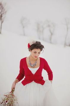 ❥ Christmas red and snow white
