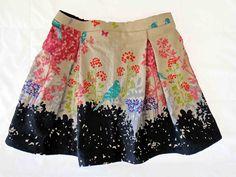 skirt made from echino bird print fabric