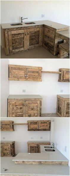 Pallet kitchen cabinet ideas wood pallet cabinets home decorations Wooden Pallet Furniture, Wood Pallets, Diy Furniture, Pallet Wood, Furniture Plans, Outdoor Furniture, Furniture Stores, Pallet Cabin Ideas, Diy Pallet Kitchen Ideas