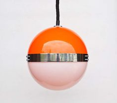Atomic Ceiling Light  Orange and White Chrome Space Age