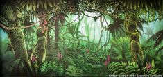 I find this backdrop useful because it reminds me of a swampy area full of vegetation which would suit one of our characters the most as it is an alien reptile. Forest Mural, Forest Theme, Jungle Theme, Tropical Art, Tropical Birds, Magic Forest, Themes Themes, Backdrops, Backdrop Ideas
