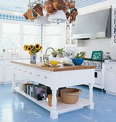 Beautiful Blue + White Cottage Kitchen With Clever Repurposed Hanging Pot Rack