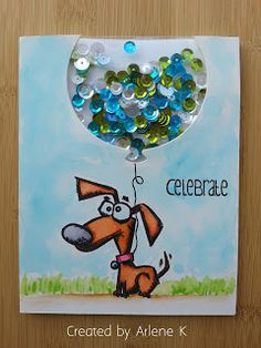 "Shaker Card. SSS ""Balloons"". SA ""Crazy Dogs"". #SSSFAVE"