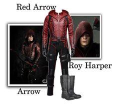 """Roy Harper ""Red Arrow"" : Arrow"" by gone-girl ❤ liked on Polyvore featuring men's fashion, menswear, Arrow, DC, Dccomics, redarrow and royharper"