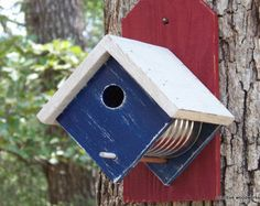 Coffee Can Birdhouse, Bird House, Rustic Birdhouse, Recycled Weathered Rough…