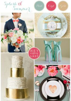 Splash of Summer - A Mint, Gold, and Coral Inspiration Board from Hey Wedding Lady